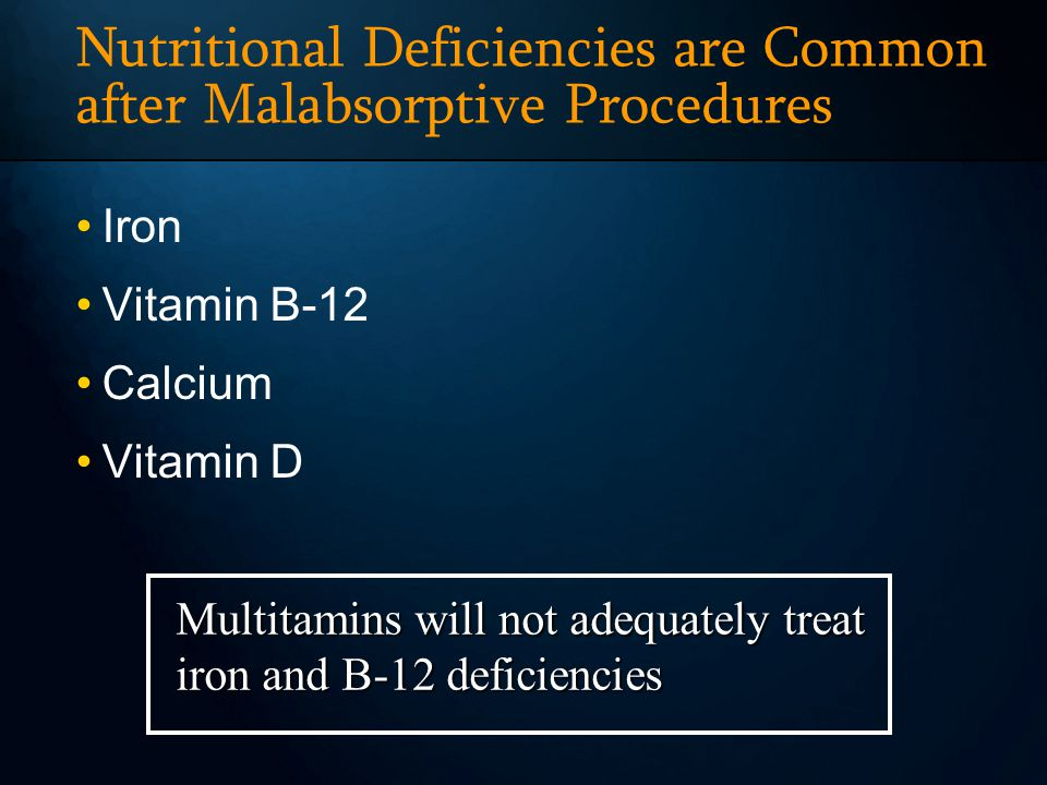 Nutritional Deficiencies are Common after Malabsorptive Procedures Iron Vitamin B-12 Calcium Vitamin D Multitamins will not adequately treat iron and