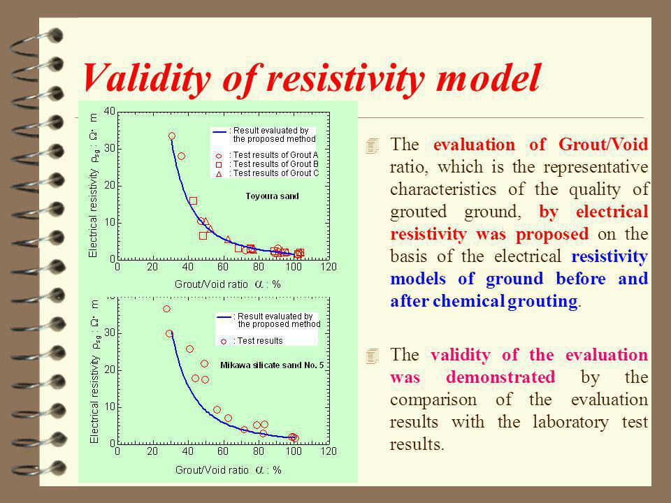 Validity of resistivity model 4 The evaluation of Grout/Void ratio, which is the representative characteristics of the quality of grouted ground, by electrical resistivity was proposed on the basis of the electrical resistivity models of ground before and after chemical grouting.