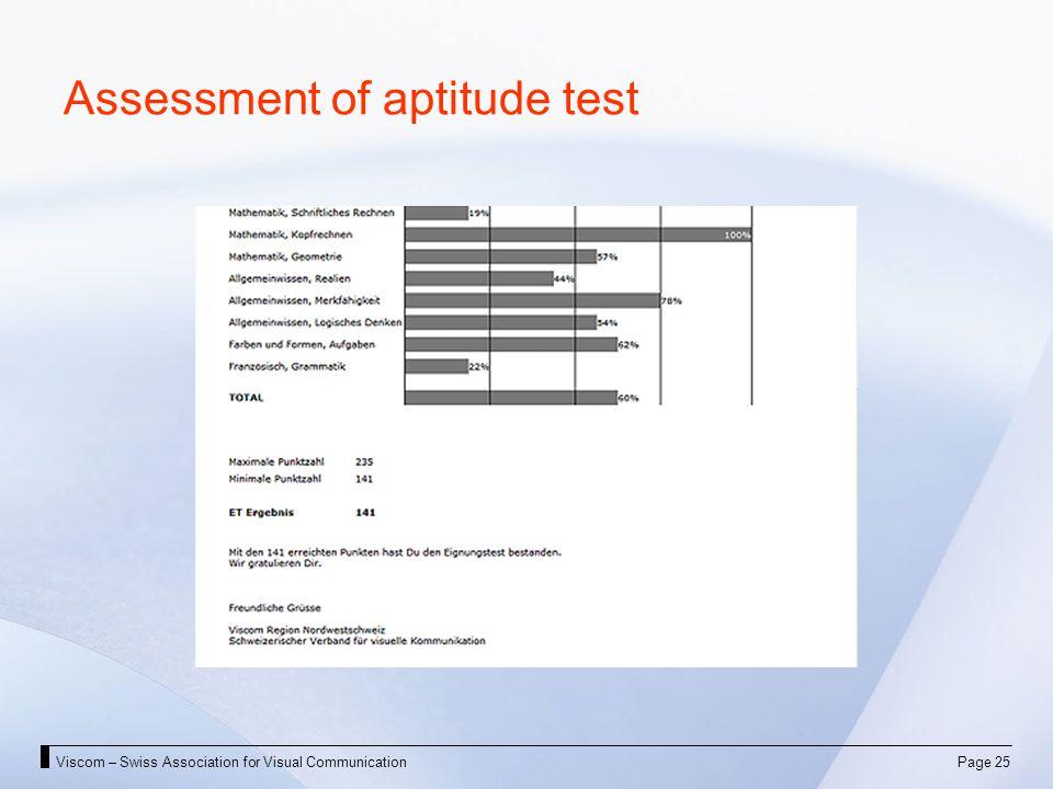 Viscom – Swiss Association for Visual CommunicationPage 25 Assessment of aptitude test