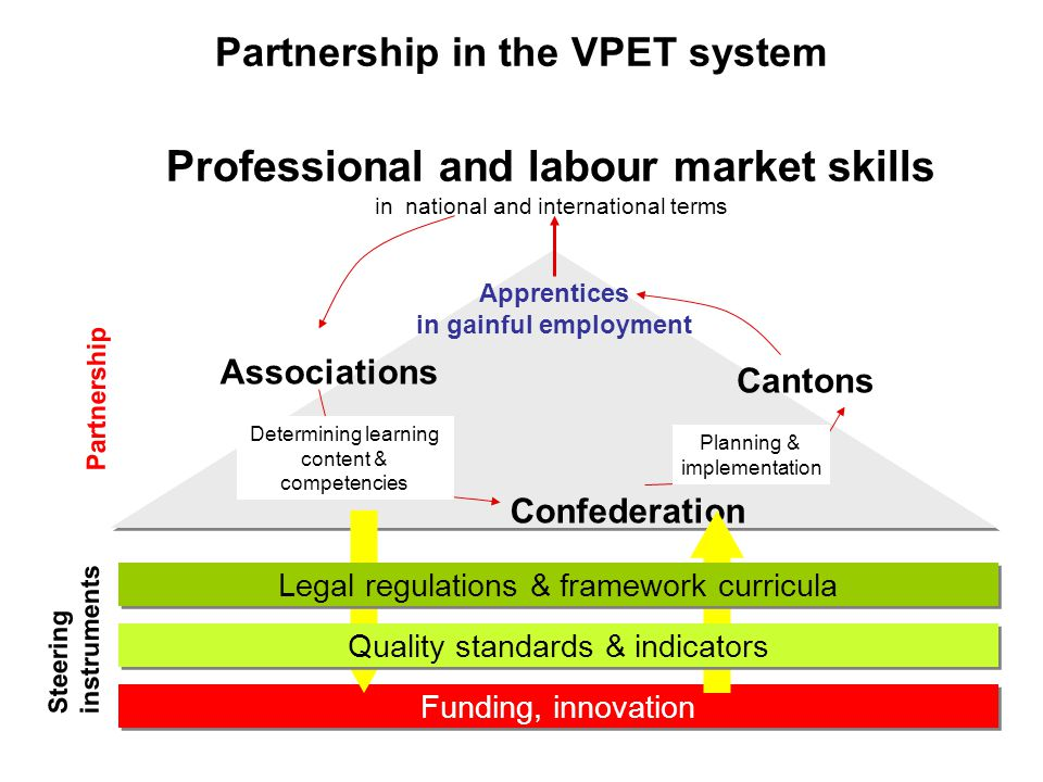Funding, innovation Professional and labour market skills in national and international terms Confederation Cantons Associations Determining learning content & competencies Planning & implementation Apprentices in gainful employment Quality standards & indicators Legal regulations & framework curricula Steering instruments Partnership Partnership in the VPET system