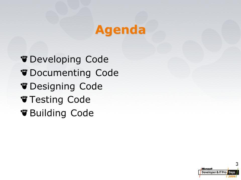 3 Agenda Developing Code Documenting Code Designing Code Testing Code Building Code