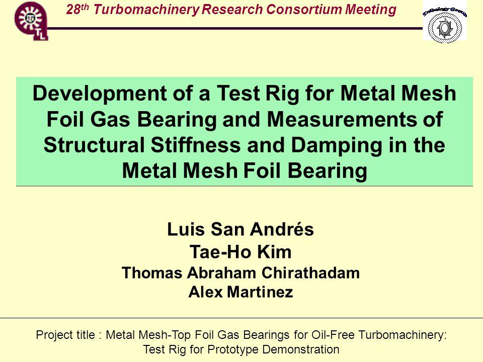 TAMU past work on Metal Mesh Dampers Zarzour and Vance (2000) J.