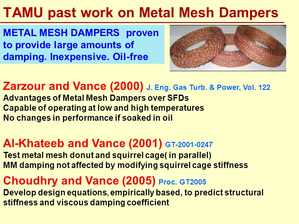 Recent Patents: gas bearings & systems A metal mesh donut is a cheap replacement to porous foil Air foil bearing having a porous foil Ref.