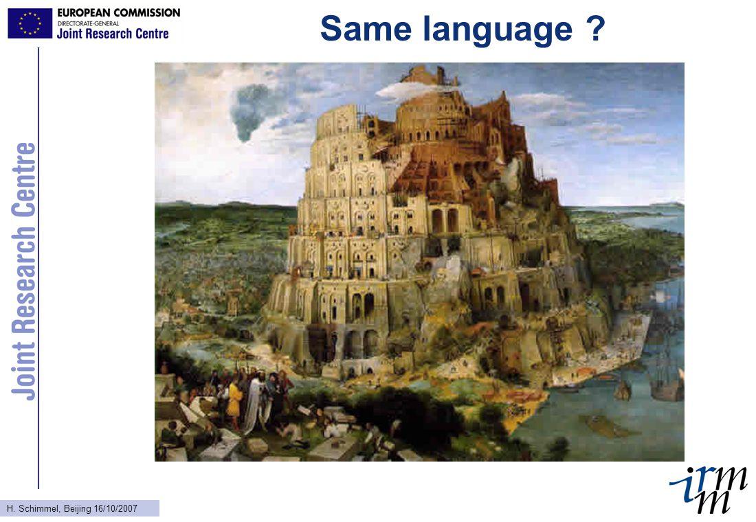 H. Schimmel, Beijing 16/10/2007 Same language ?