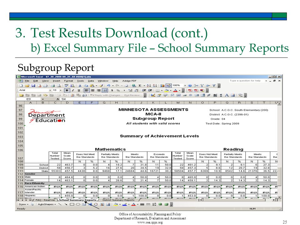 Office of Accountability, Planning and Policy Department of Research, Evaluation and Assessment www.rea.spps.org 25 Subgroup Report 3.Test Results Download (cont.) b) Excel Summary File – School Summary Reports
