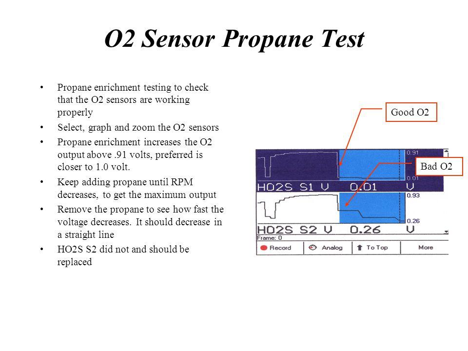 O2 Sensor Propane Test Propane enrichment testing to check that the O2 sensors are working properly Select, graph and zoom the O2 sensors Propane enri