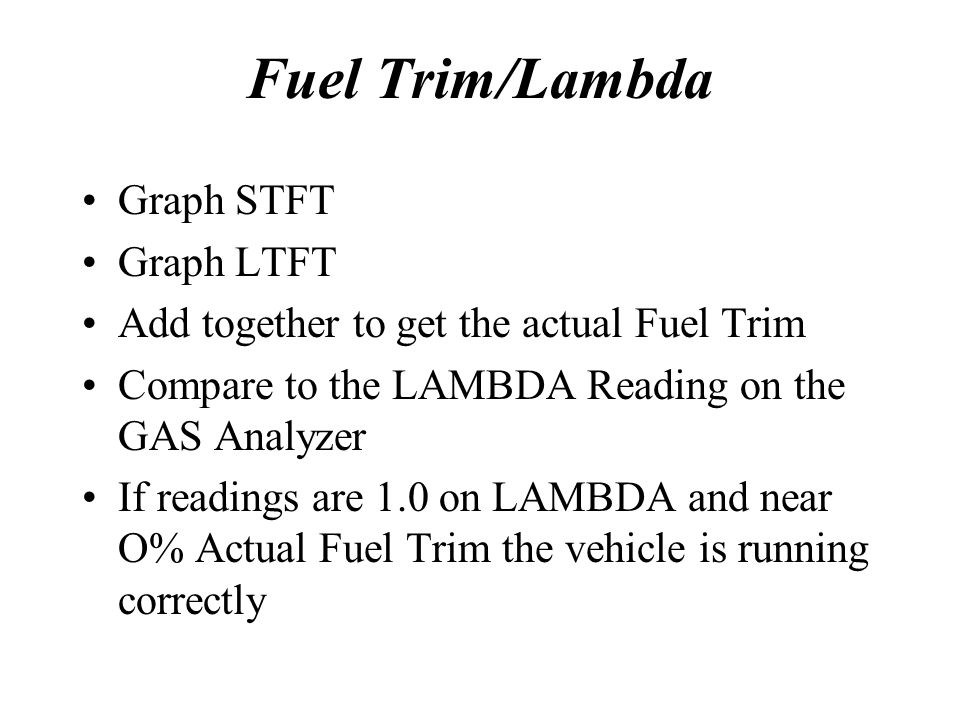 Fuel Trim/Lambda Graph STFT Graph LTFT Add together to get the actual Fuel Trim Compare to the LAMBDA Reading on the GAS Analyzer If readings are 1.0