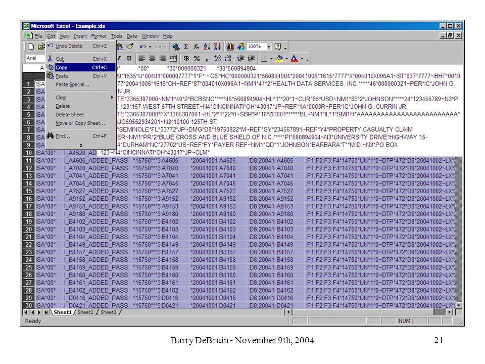 Barry DeBruin - November 9th, 200421