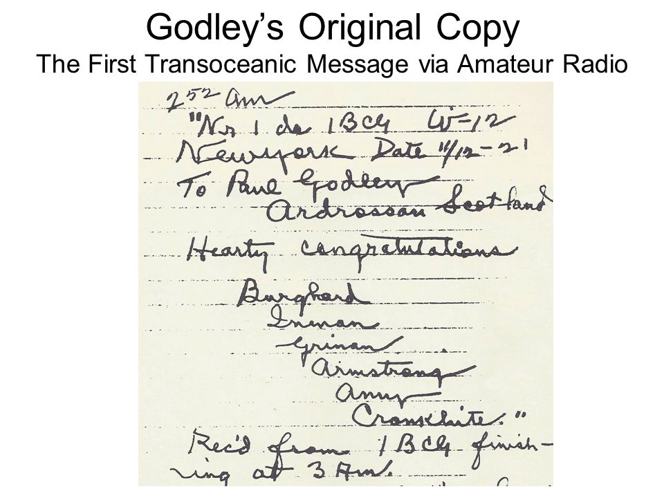 Godleys Original Copy The First Transoceanic Message via Amateur Radio