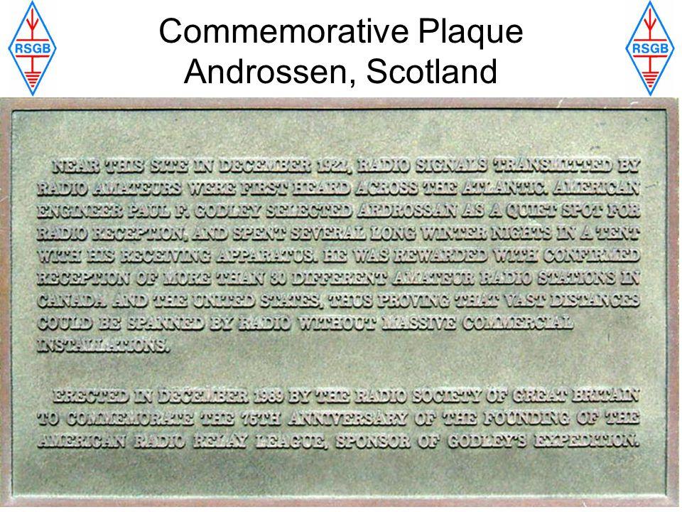 Commemorative Plaque Androssen, Scotland