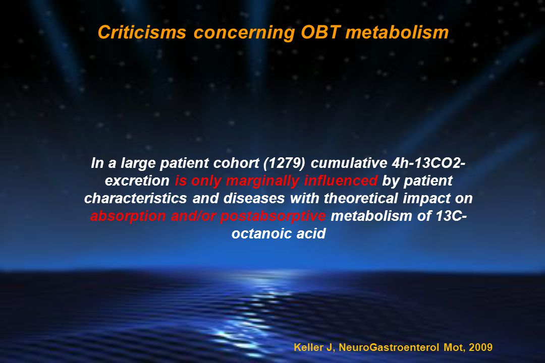 In a large patient cohort (1279) cumulative 4h-13CO2- excretion is only marginally influenced by patient characteristics and diseases with theoretical impact on absorption and/or postabsorptive metabolism of 13C- octanoic acid Criticisms concerning OBT metabolism Keller J, NeuroGastroenterol Mot, 2009