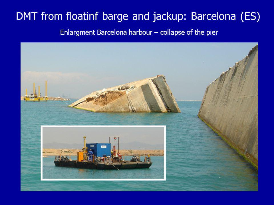 DMT from floatinf barge and jackup: Barcelona (ES) Enlargment Barcelona harbour – collapse of the pier