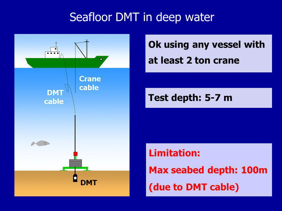 Seafloor DMT in deep water Ok using any vessel with at least 2 ton crane Limitation: Max seabed depth: 100m (due to DMT cable) Test depth: 5-7 m