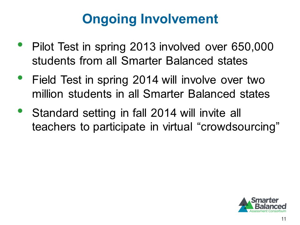 Ongoing Involvement Pilot Test in spring 2013 involved over 650,000 students from all Smarter Balanced states Field Test in spring 2014 will involve over two million students in all Smarter Balanced states Standard setting in fall 2014 will invite all teachers to participate in virtual crowdsourcing 11