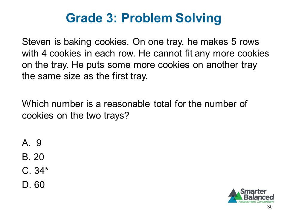 Grade 3: Problem Solving 30 Steven is baking cookies.