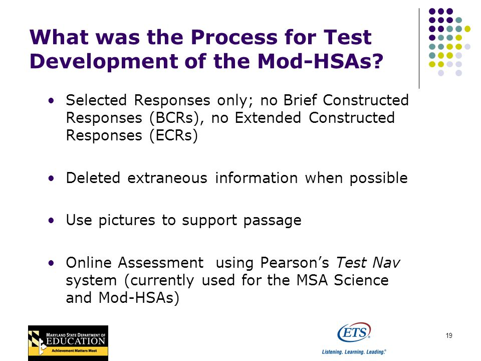 19 What was the Process for Test Development of the Mod-HSAs.