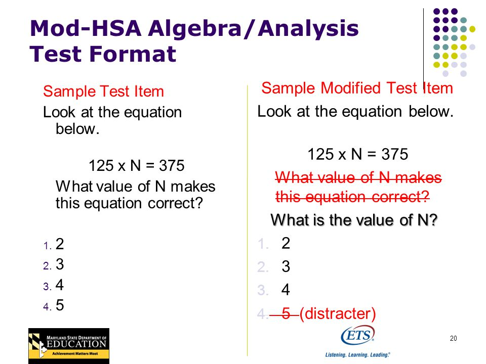 20 Mod-HSA Algebra/Analysis Test Format Sample Test Item Look at the equation below.