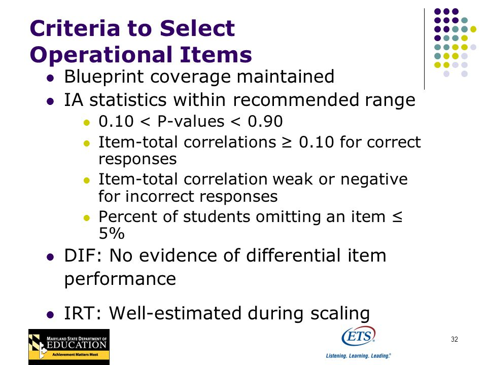 32 Criteria to Select Operational Items Blueprint coverage maintained IA statistics within recommended range 0.10 < P-values < 0.90 Item-total correlations 0.10 for correct responses Item-total correlation weak or negative for incorrect responses Percent of students omitting an item 5% DIF: No evidence of differential item performance IRT: Well-estimated during scaling