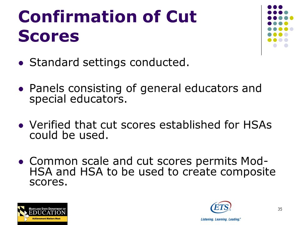 35 Confirmation of Cut Scores Standard settings conducted.