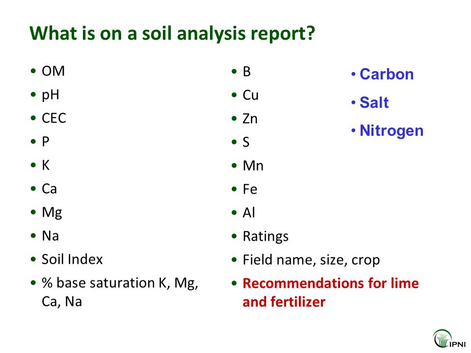 What is on a soil analysis report.