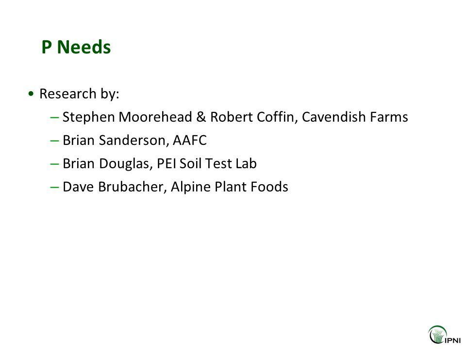 P Needs Research by: – Stephen Moorehead & Robert Coffin, Cavendish Farms – Brian Sanderson, AAFC – Brian Douglas, PEI Soil Test Lab – Dave Brubacher, Alpine Plant Foods