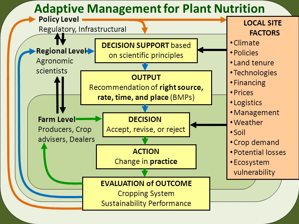 ACTION Change in practice Farm Level Producers, Crop advisers, Dealers DECISION Accept, revise, or reject EVALUATION of OUTCOME Cropping System Sustainability Performance Adaptive Management for Plant Nutrition OUTPUT Recommendation of right source, rate, time, and place (BMPs) Regional Level Agronomic scientists DECISION SUPPORT based on scientific principles Policy Level Regulatory, Infrastructural LOCAL SITE FACTORS Climate Policies Land tenure Technologies Financing Prices Logistics Management Weather Soil Crop demand Potential losses Ecosystem vulnerability