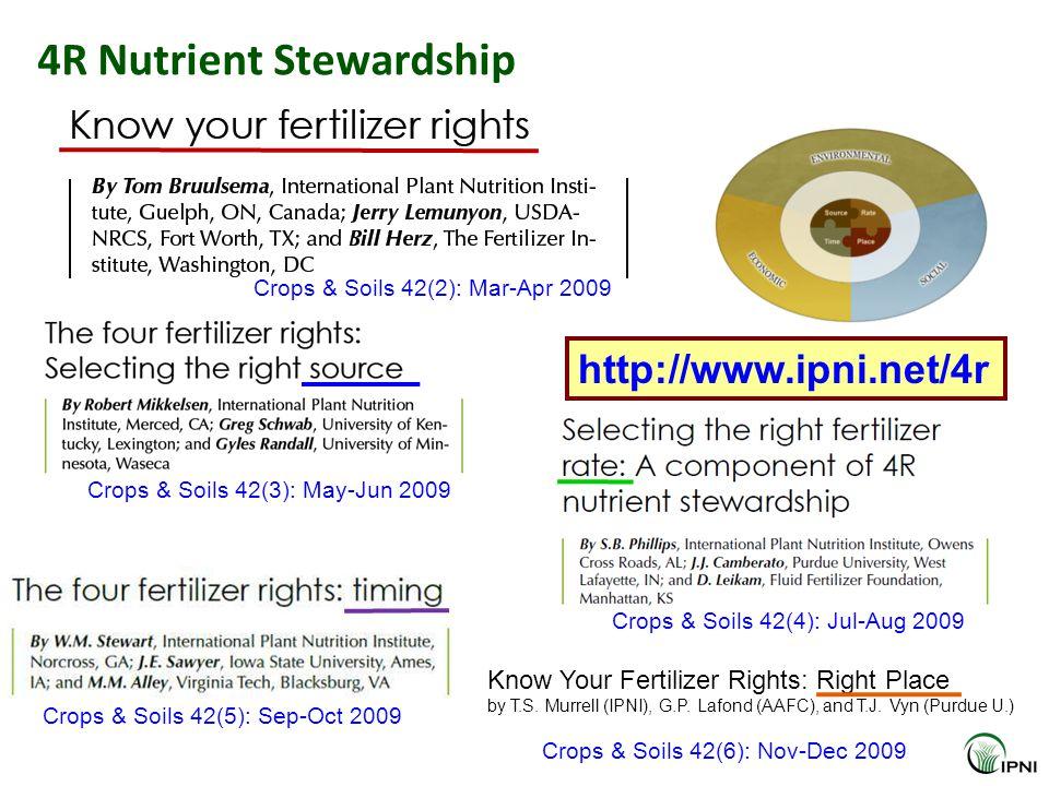 4R Nutrient Stewardship Crops & Soils 42(2): Mar-Apr 2009 Crops & Soils 42(3): May-Jun 2009 Crops & Soils 42(4): Jul-Aug 2009 Crops & Soils 42(5): Sep-Oct 2009 Crops & Soils 42(6): Nov-Dec 2009 Know Your Fertilizer Rights: Right Place by T.S.