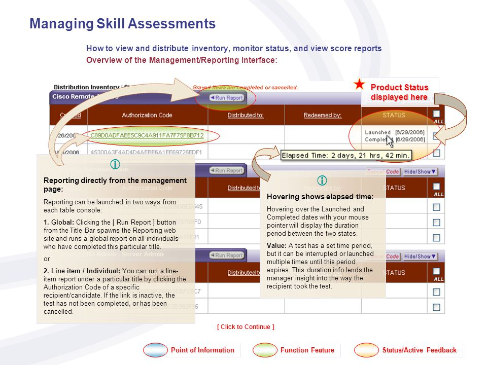 Managing Skill Assessments How to view and distribute inventory, monitor status, and view score reports Overview of the Management/Reporting Interface: Point of Information Function Feature Status/Active Feedback [ Click to Continue ] Product Status displayed here Hovering shows elapsed time: Hovering over the Launched and Completed dates with your mouse pointer will display the duration period between the two states.