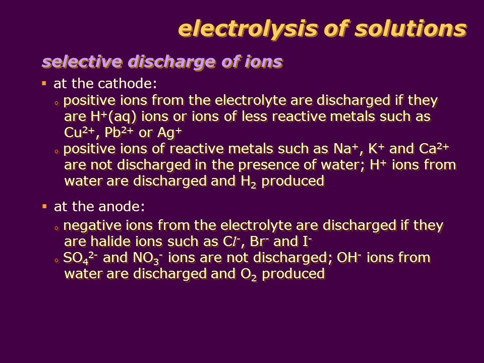 electrolysis of solutions table shows the electrode products from solutions of ions: selective discharge of ions Cation Product at Cathode Anion Product at Anode reactivity of metal decreases K + Na + Ca 2+ Mg 2+ A l 3+ hydrogen from water C l - Br - I - chlorine bromine iodine Ni 2+ Pb 2+ Cu 2+ Ag + nickel lead copper silver SO 4 2- NO 3 - oxygen from water
