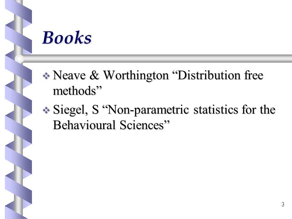 3 Books Neave & Worthington Distribution free methods Neave & Worthington Distribution free methods Siegel, S Non-parametric statistics for the Behavi