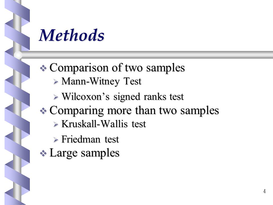 5 Mann-Witney test Used to compare two independent samples Used to compare two independent samples Involves putting the samples into a common ranking Involves putting the samples into a common ranking The locations of the samples within the common ranking is a measure of similarity or difference of the samples.