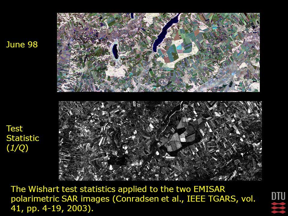 June 98 Test Statistic (1/Q) The Wishart test statistics applied to the two EMISAR polarimetric SAR images (Conradsen et al., IEEE TGARS, vol.