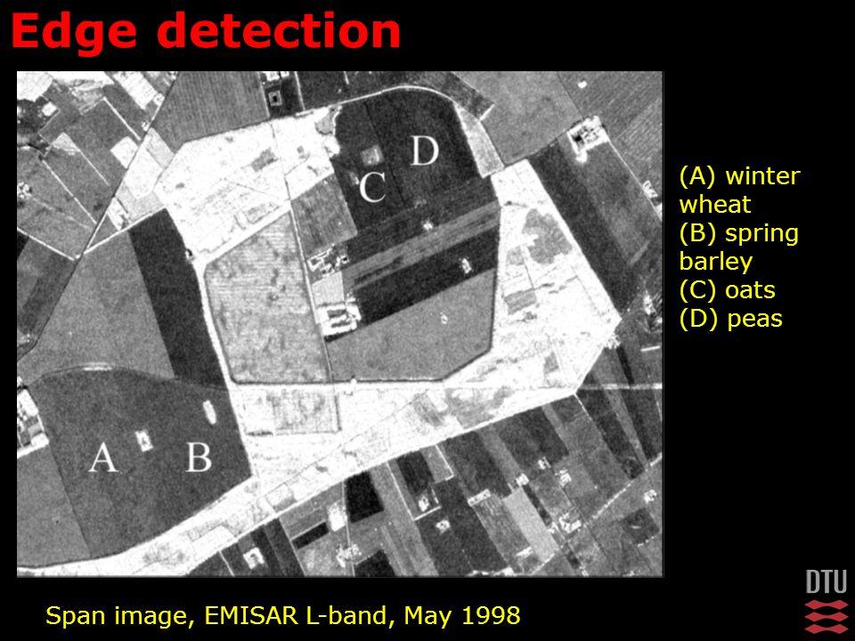 (A) winter wheat (B) spring barley (C) oats (D) peas Edge detection Span image, EMISAR L-band, May 1998