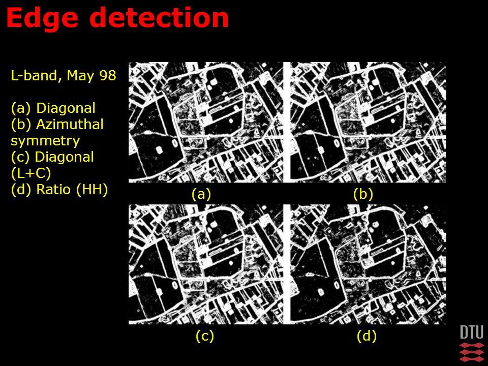 L-band, May 98 (a) Diagonal (b) Azimuthal symmetry (c) Diagonal (L+C) (d) Ratio (HH) Edge detection (a)(b) (c)(d)