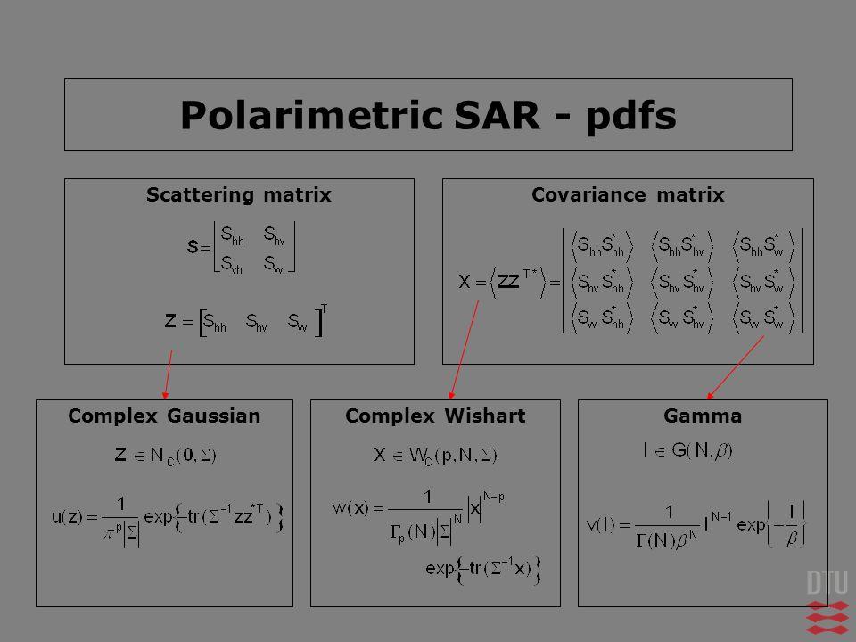 Polarimetric SAR - pdfs Scattering matrixCovariance matrix Complex GaussianComplex WishartGamma