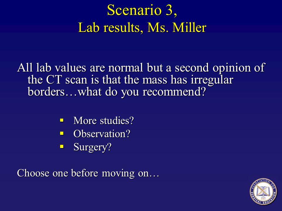 Scenario 3, Lab results, Ms.