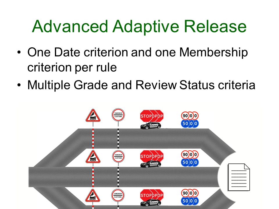 Advanced Adaptive Release One Date criterion and one Membership criterion per rule Multiple Grade and Review Status criteria