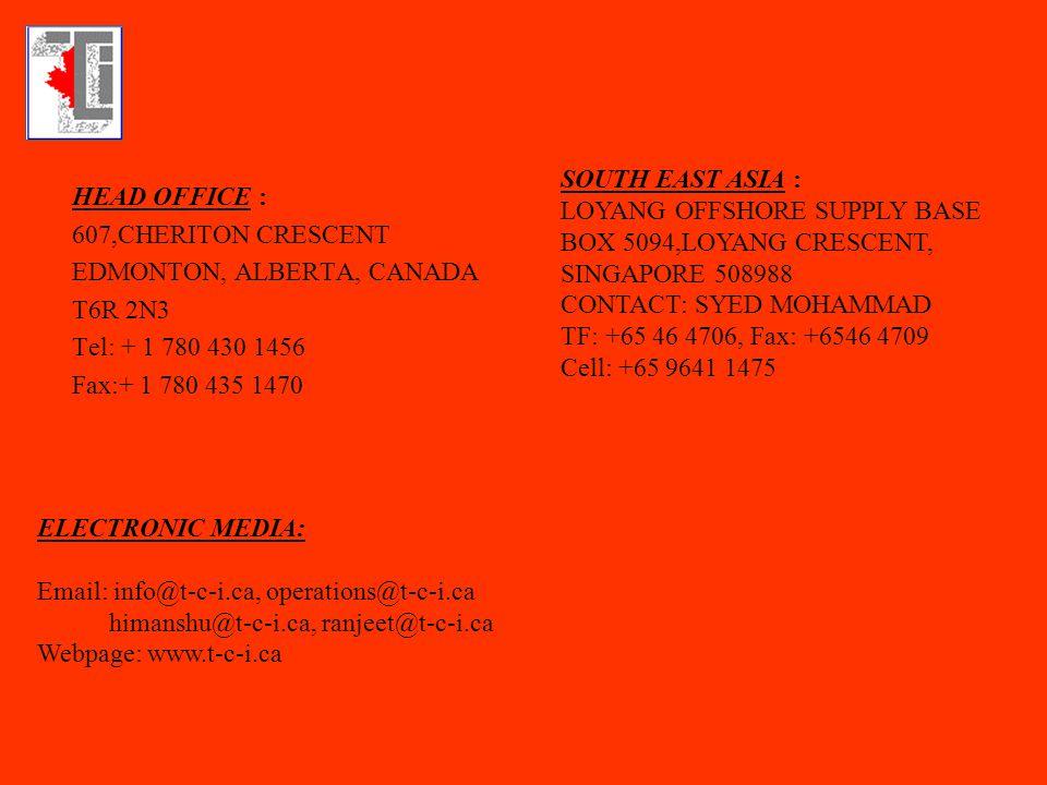 HEAD OFFICE : 607,CHERITON CRESCENT EDMONTON, ALBERTA, CANADA T6R 2N3 Tel: + 1 780 430 1456 Fax:+ 1 780 435 1470 SOUTH EAST ASIA : LOYANG OFFSHORE SUP