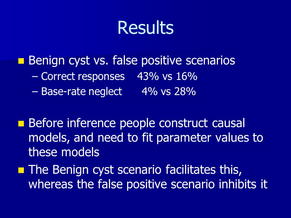 Results Benign cyst vs. false positive scenarios – –Correct responses 43% vs 16% – –Base-rate neglect 4% vs 28% Before inference people construct caus
