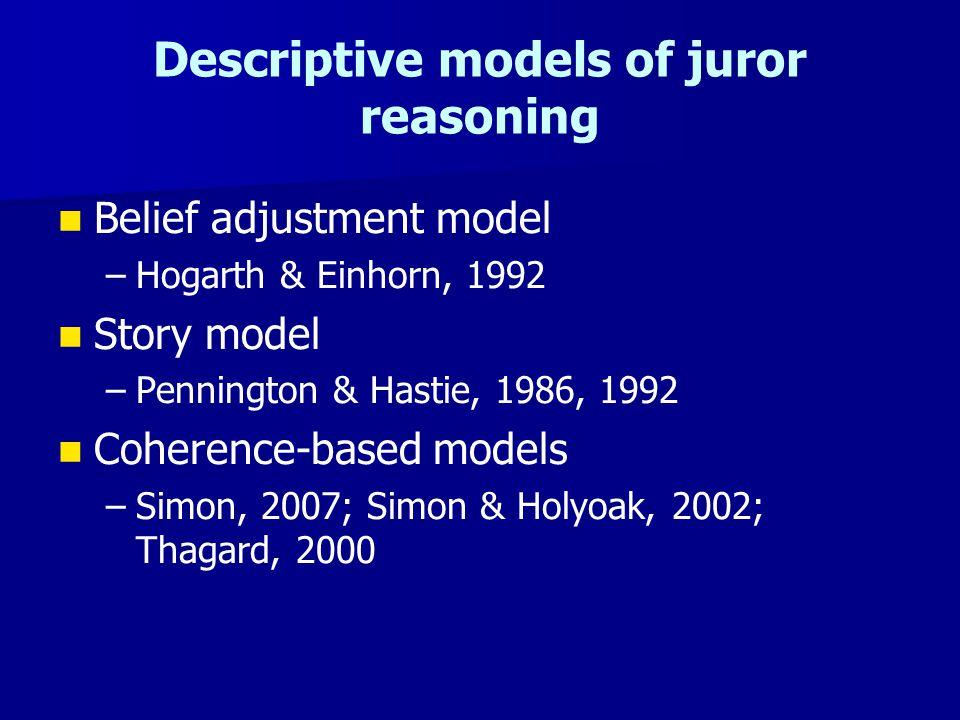 Descriptive models of juror reasoning Belief adjustment model – –Hogarth & Einhorn, 1992 Story model – –Pennington & Hastie, 1986, 1992 Coherence-based models – –Simon, 2007; Simon & Holyoak, 2002; Thagard, 2000