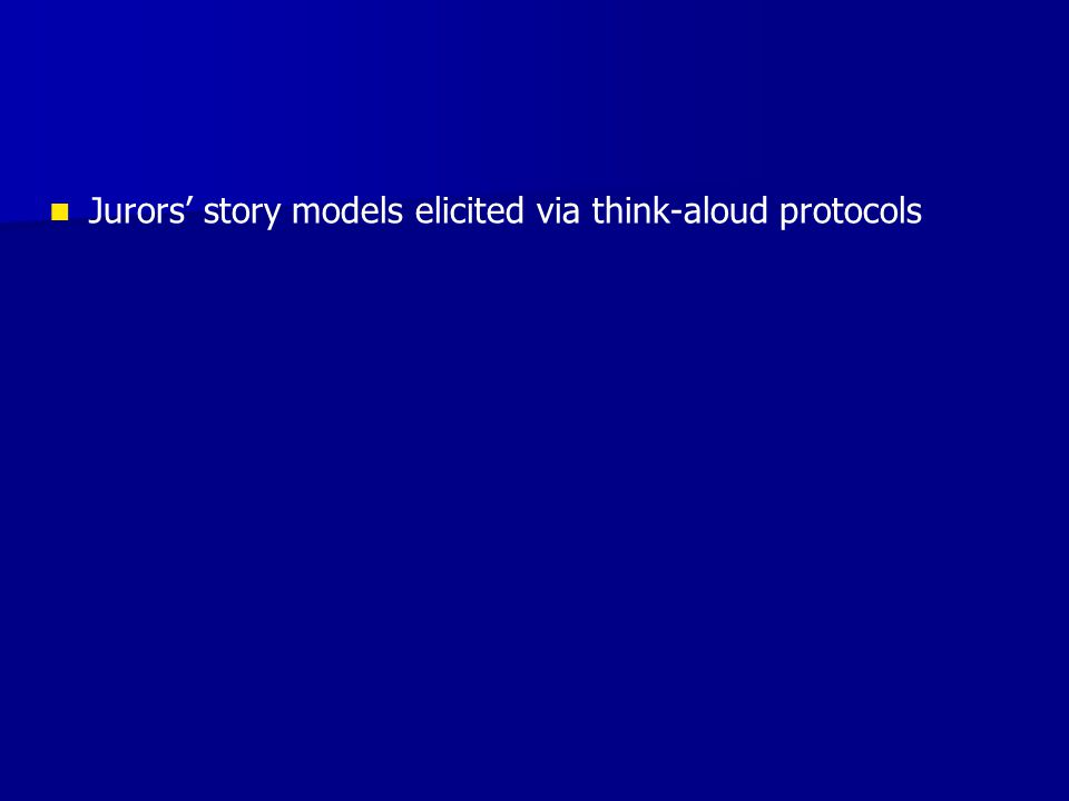 Jurors story models elicited via think-aloud protocols