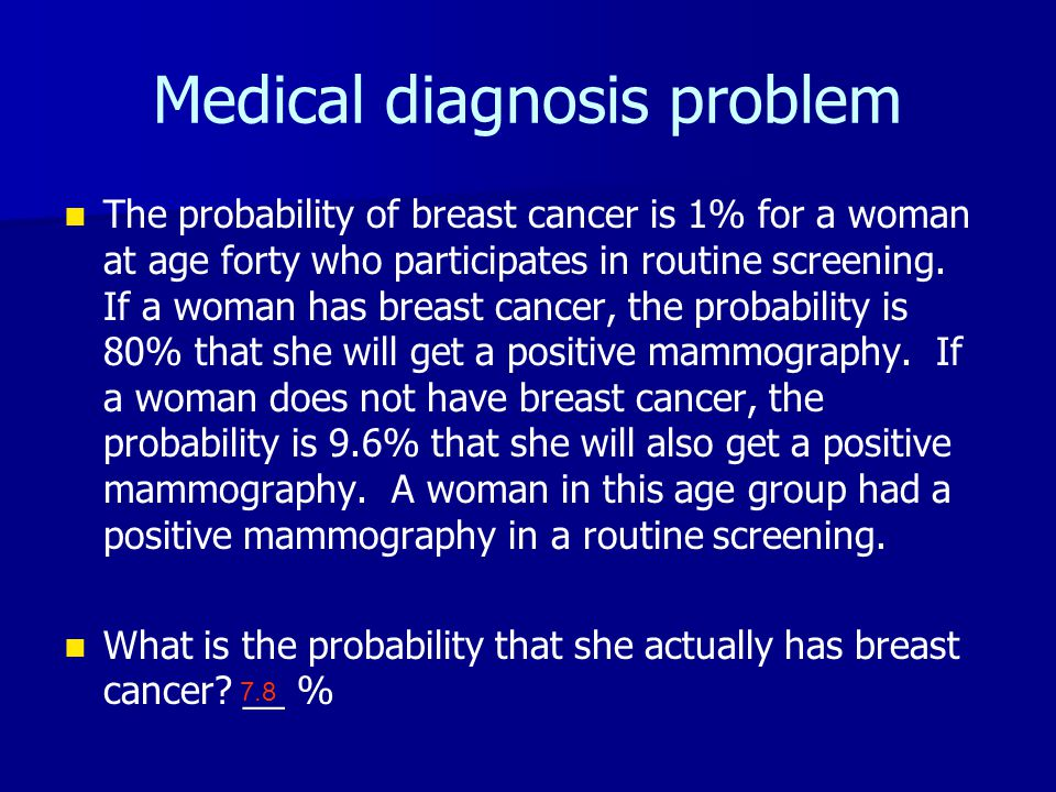 Medical diagnosis problem The probability of breast cancer is 1% for a woman at age forty who participates in routine screening. If a woman has breast