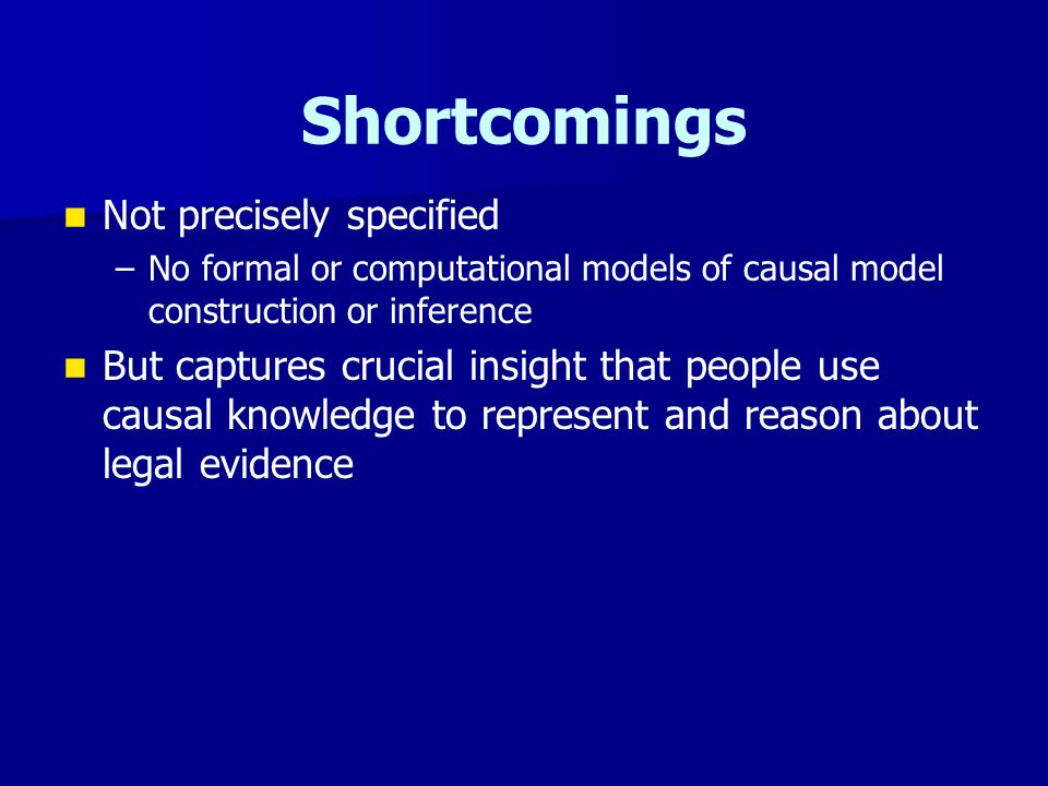 Shortcomings Not precisely specified – –No formal or computational models of causal model construction or inference But captures crucial insight that