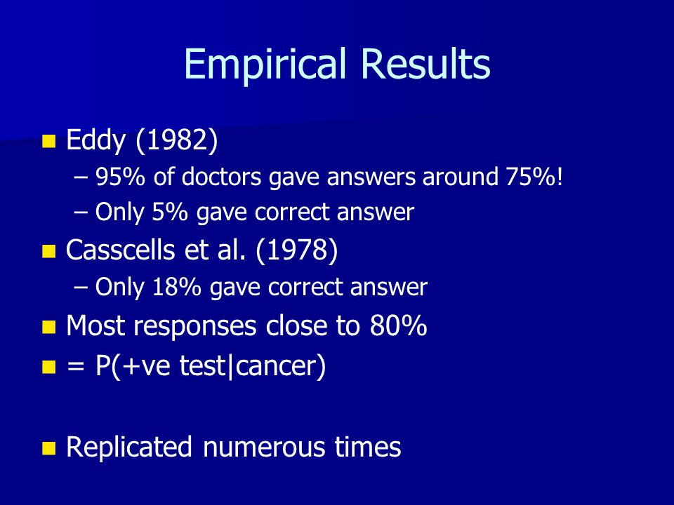 Empirical Results Eddy (1982) – –95% of doctors gave answers around 75%! – –Only 5% gave correct answer Casscells et al. (1978) – –Only 18% gave corre