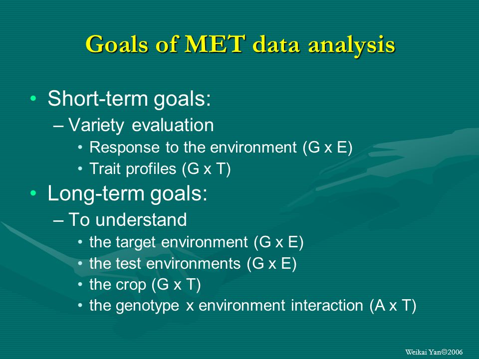 Weikai Yan 2006 Goals of MET data analysis Short-term goals: –Variety evaluation Response to the environment (G x E) Trait profiles (G x T) Long-term goals: –To understand the target environment (G x E) the test environments (G x E) the crop (G x T) the genotype x environment interaction (A x T)