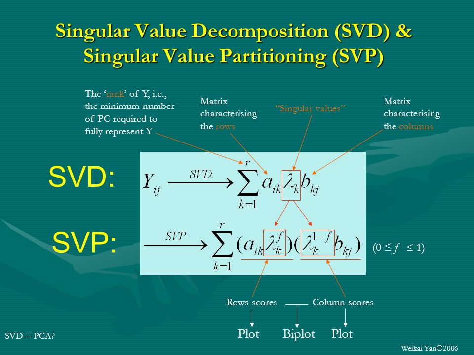 Weikai Yan 2006 Singular Value Decomposition (SVD) & Singular Value Partitioning (SVP) (0 f 1) Singular values Matrix characterising the rows Matrix characterising the columns SVD = PCA.