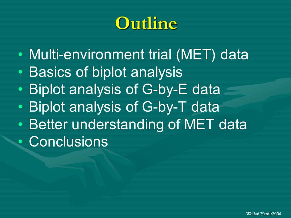 Weikai Yan 2006 G By E data analysis MEGA- ENVIRONMENT ANALYSIS TESTENVIRONMENTEVALUATION GENOTYPEEVALUATION Mega-environment is a group of geographical locations that share the same (set of) best genotypes consistently across years.