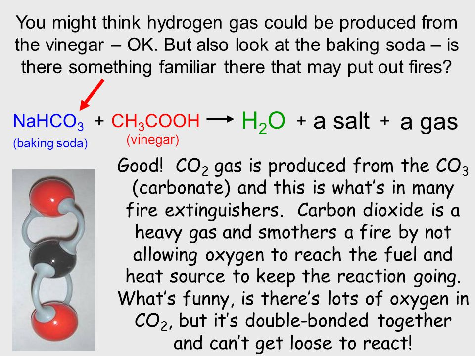 You might think hydrogen gas could be produced from the vinegar – OK. But also look at the baking soda – is there something familiar there that may pu