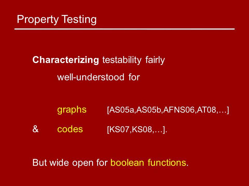 Testable boolean function properties Linearity (f(x) = λx) [BLR90] Degree k [AKKLR03] Dicatators [BGS95] Conjunctions, size-s mono.