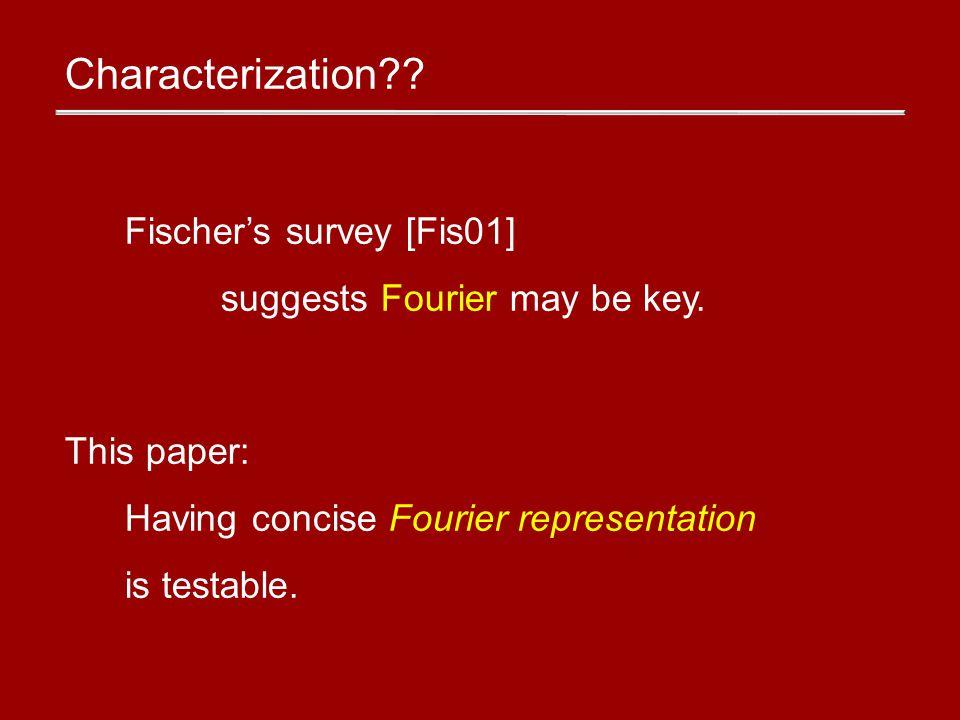 Hashing Fourier coefficients idea Birthday Paradox s Fourier coeffs split Test that at most s buckets are nonzero.